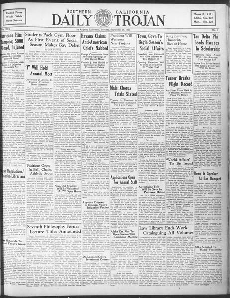 Daily Trojan, Vol. 25, No. 3, September 26, 1933
