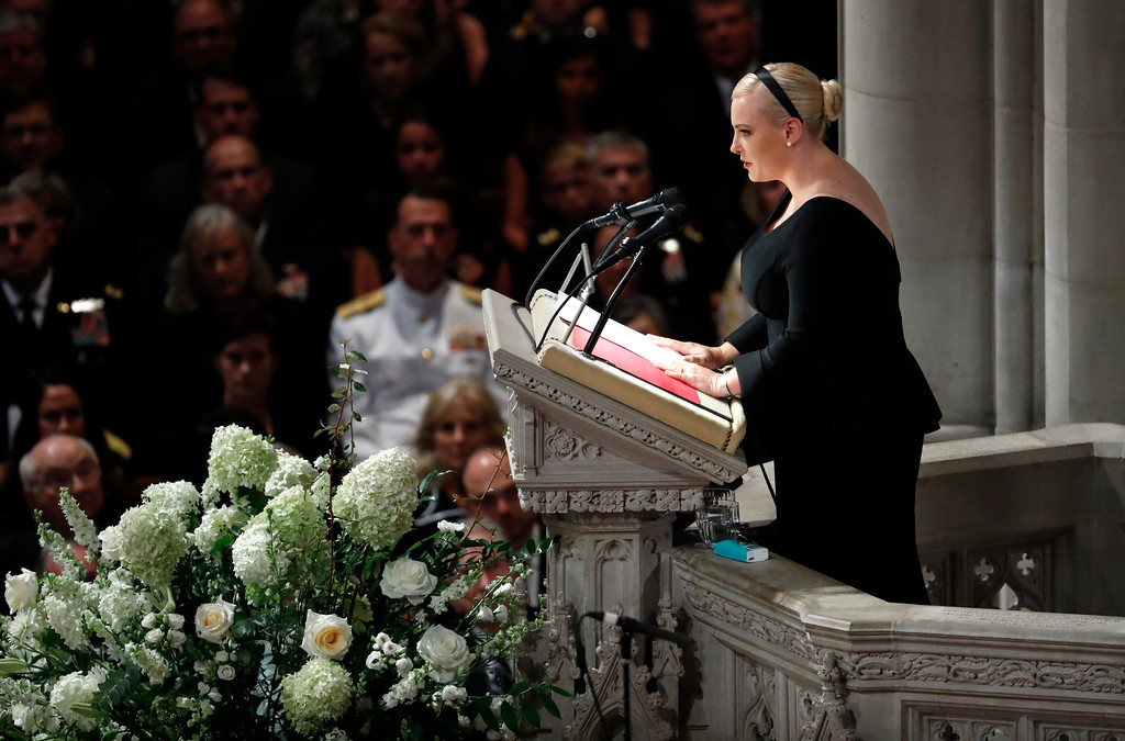 . Meghan McCain speaks at a memorial services for her father Sen. John McCain, R-Ariz., at Washington National Cathedral in Washington, Saturday, Sept. 1, 2018. McCain died Aug. 25, from brain cancer at age 81. (AP Photo/Pablo Martinez Monsivais)