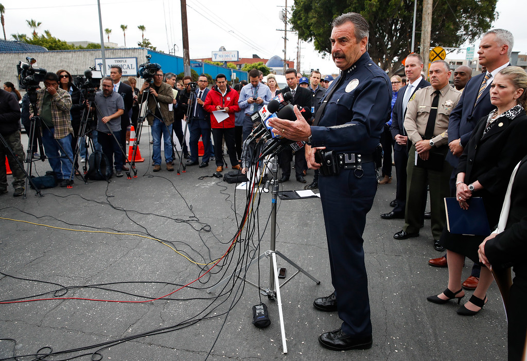 . Los Angeles Police Chief Charlie Beck answers questions from the media during a news conference Wednesday, May 17, 2017, in Los Angeles. Twenty-one members and associates of MS-13 were arrested Wednesday morning as hundreds of federal and local law enforcement fanned out across Los Angeles, serving arrest and search warrants. (AP Photo/Jae C. Hong)