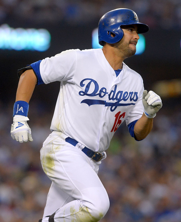 . <b>Andre Ethier #16 | CF | Bats: L, Throws: L <br />GP: 142     AB: 482     R: 54    H: 131     2B: 33  </b> <b>3B: 2     HR: 12     RBI: 52    BB: 61     SO: 95  </b> <b>SB: 4     BA: .272     OBP: .360    SLG: .423     OPS: .783</b> <br />(Andy Holzman/Los Angeles Daily News)