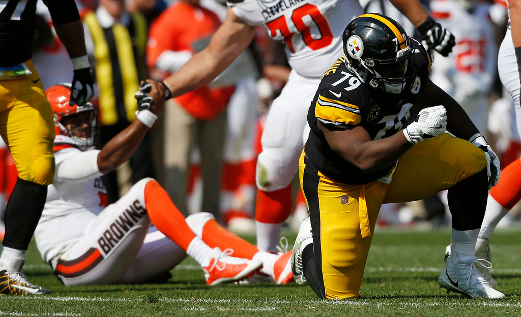 . Pittsburgh Steelers nose tackle Javon Hargrave (79) celebrates a sack on Cleveland Browns quarterback DeShone Kizer (7) during the second half of an NFL football game, Sunday, Sept. 10, 2017, in Cleveland. (AP Photo/Ron Schwane)