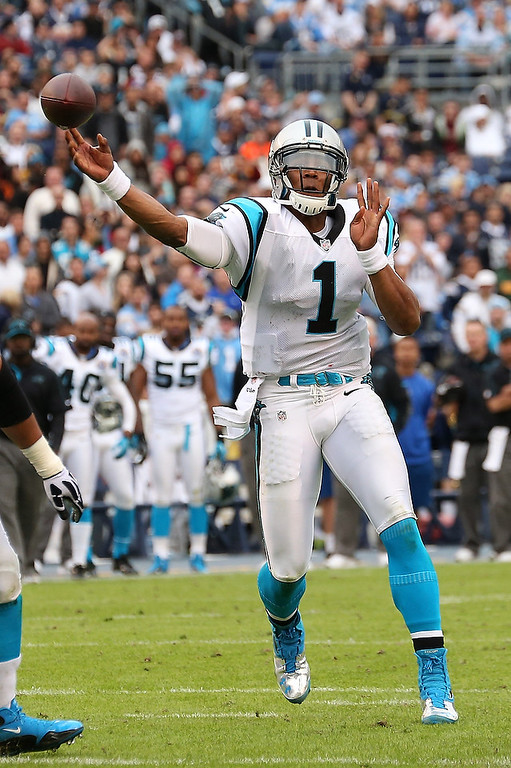 . Quarterback Cam Newton #1 of the Carolina Panthers throws a pass against the San Diego Chargers at Qualcomm Stadium on December 16, 2012 in San Diego, California.  (Photo by Stephen Dunn/Getty Images)