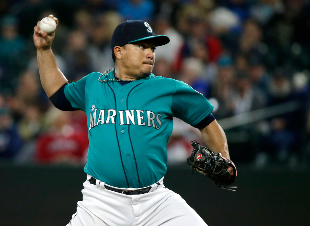 . Seattle Mariners starting pitcher Erasmo Ramirez throws to a Cleveland Indians batter during the first inning of a baseball game, Friday, Sept. 22, 2017, in Seattle. (AP Photo/Ted S. Warren)