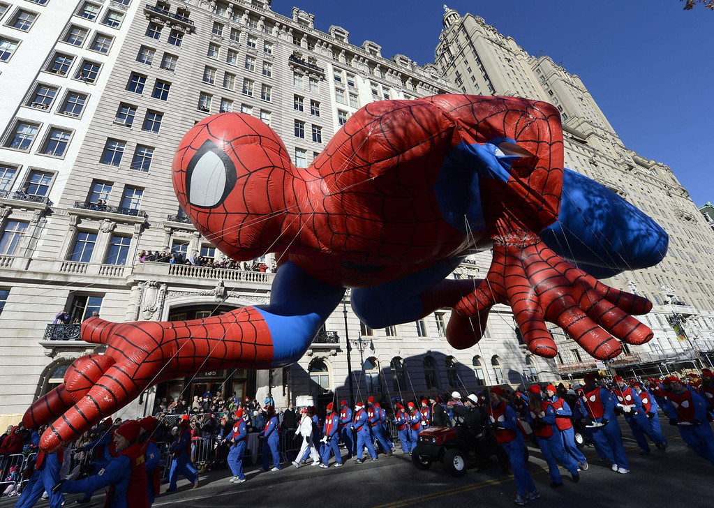 . The Spiderman balloon makes its down Central Park West during the 87th Macy\'s Thanksgiving Day Parade in New York November 28, 2013. There was fear that the iconic balloos could have been grounded if windy conditions had picked up this morning.   TIMOTHY A. CLARY/AFP/Getty Images