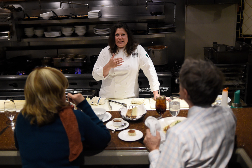 . Executive chef Elise Wiggins, of Panzano, Rachel and Mike Macmann about their pasta on Wednesday, February 10, 2016. Many restaurants around Denver are opting for chef\'s bars or tables, which give diners an opportunity to watch food preparation as well as giving them access to chefs to ask questions about food preparation. (Photo by AAron Ontiveroz/The Denver Post)