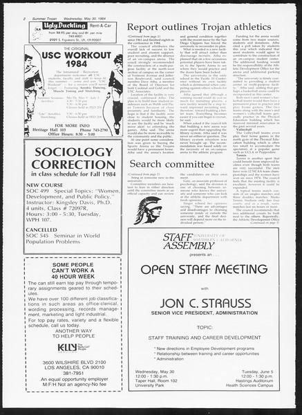 Summer Trojan, Vol. 96, No. 2, May 30, 1984