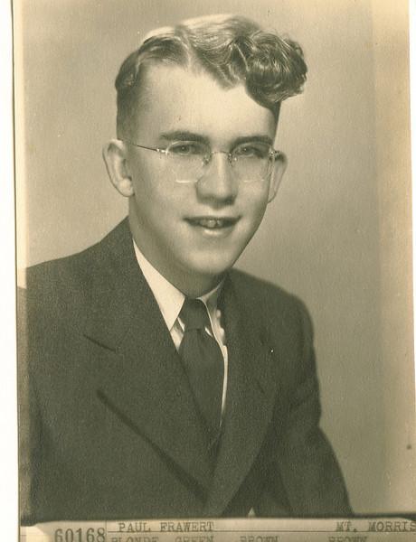"Paul Eugene Frawert (1927-)  Written in the Rogers Reunion Photo Album Volume III page 60 ""Paul E. Frawert graduation pic ?"""