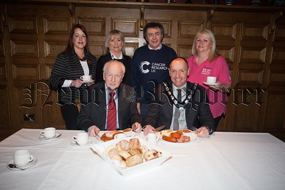 Pictured at the launch of the Big Breakfast at Bellinis on Friday 11th March in aid of Cancer Research are, Mickey Ruane (Chairperson NMDCC), Gervase McCartan, Aibhin Frizell, Cora Trainor, Paddy O'Hanlon and Bernie Ward. R1609009