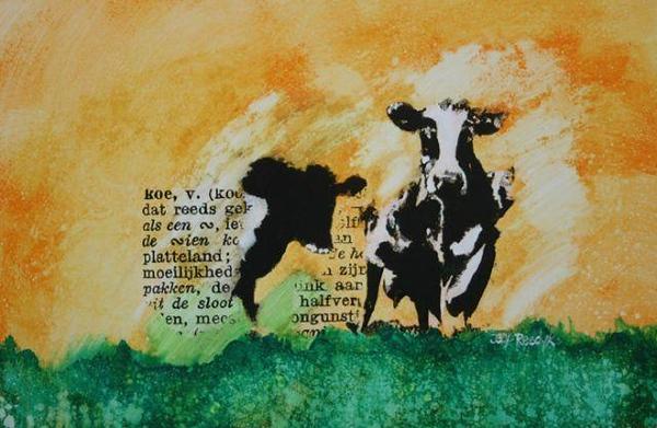 dikke van dale koe mixedmedia op papier 50x50 ?450,00.jpg