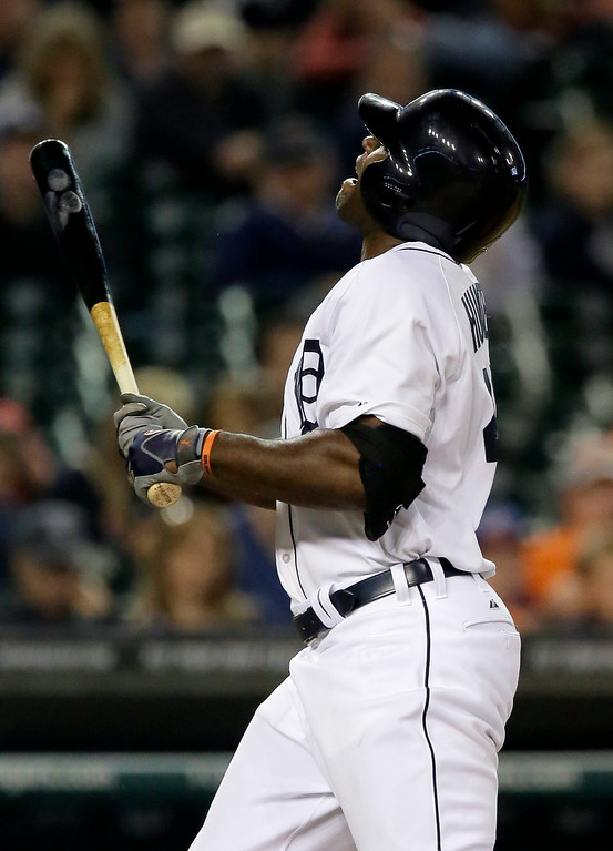 . Detroit Tigers\' Torii Hunter reacts after being hit by a pitch during the eighth inning of a baseball game against the Chicago White Sox Tuesday, July 29, 2014, in Detroit. (AP Photo/Duane Burleson)