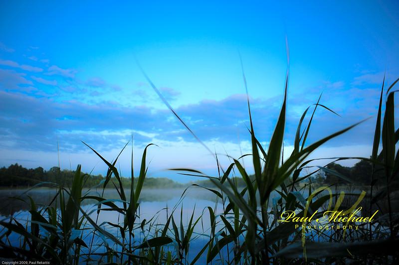 Fog over lake.