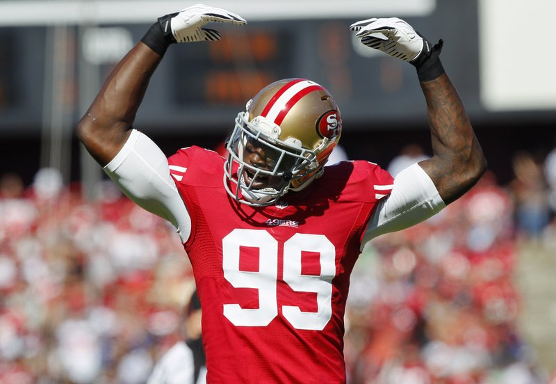 . <p><b> Panthers at 49ers (-6):</b> <p>Niners defensive end Aldon Smith returned to the team Wednesday after five weeks in rehab, and coach John Harbaugh said �we�ll assess� whether he plays Sunday. That means that, unless he crashes his car again Saturday night, Smith will be on the field against the Panthers. <p>Pick: <b>49ers by 7</b> <p>    (Brian Bahr/Getty Images)