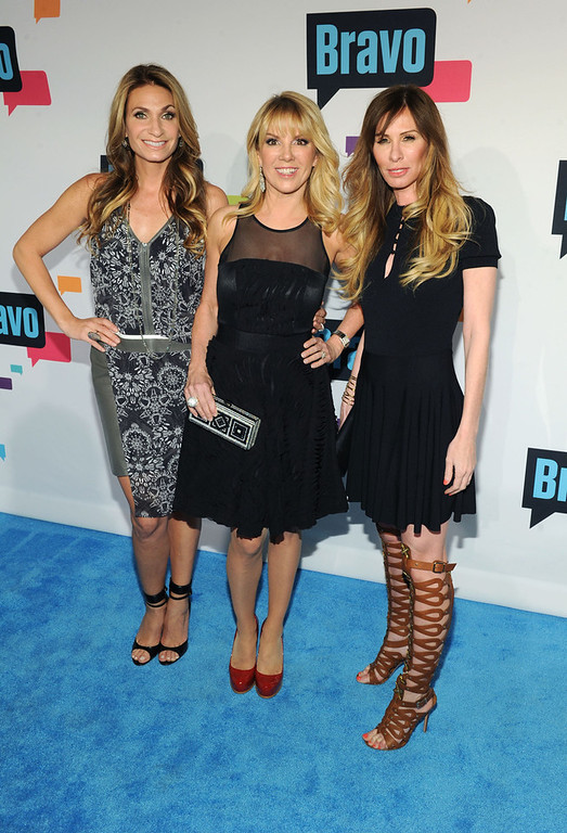 . Heather Thomson, Ramona Singer and Carole Radziwill attend the 2013 Bravo New York Upfront at Pillars 37 Studios on April 3, 2013 in New York City.  (Photo by Craig Barritt/Getty Images)