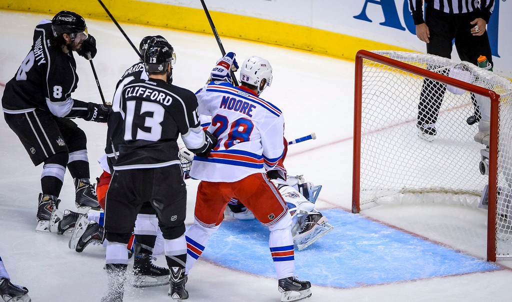 . Kings Drew Doughty scores on Rangers Henrik Lundqvist during second period action at Game 1 of the Stanley cup Finals at Staples Center Wednesday, June 4, 2014 ( Photo by David Crane/Los Angeles Daily News )
