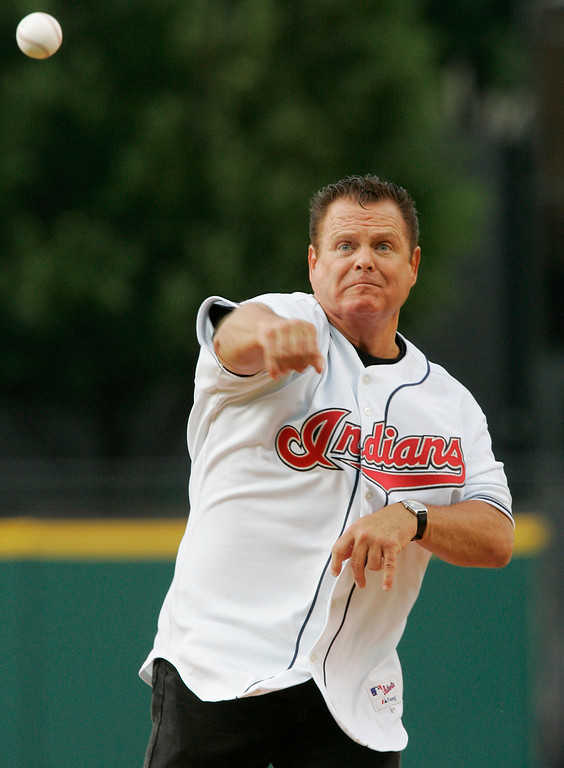 . Pro wrestler Jerry Lawler throws out a ceremonial pitch before the Cleveland Indians hosted the Minnesota Twins in a baseball game Saturday, July 22, 2006, in Cleveland. (AP Photo/Mark Duncan)