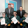 St Josephs Boys High School Newry,Three students have been chosen to receive the Diana Princess of Wales Memorial Award for their outstanding contribution to the school and the community. Pictured Back Mr Hugh Mallon Principle, Mr Martin Mc Greevy, Front, Colin Coyle, Kevin Carville,Darren Mc Loughlin.06W38N8