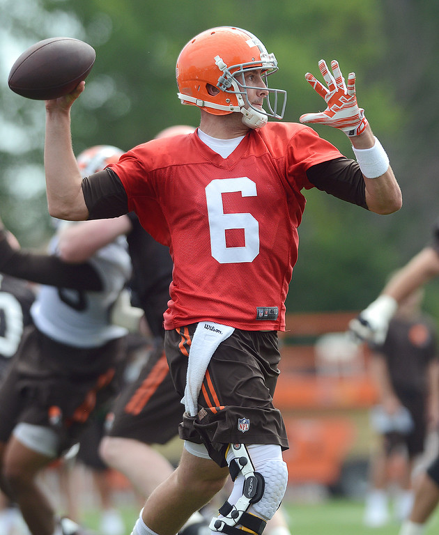 . Duncan Scott/DScott@News-Herald.com Brian Hoyer throws a pass as the Cleveland Browns opened training camp on July 26 with their first practice at their headquarters in Berea.