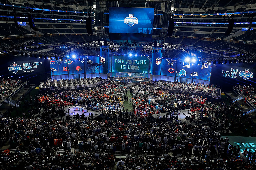 . This general, overall view shows AT&T Stadium during the first round of the NFL football draft, Thursday, April 26, 2018, in Arlington, Texas. (AP Photo/David J. Phillip)