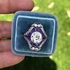 2.27ct (est) Art Deco Old European Cut Diamond with Amethyst Halo Ring 32