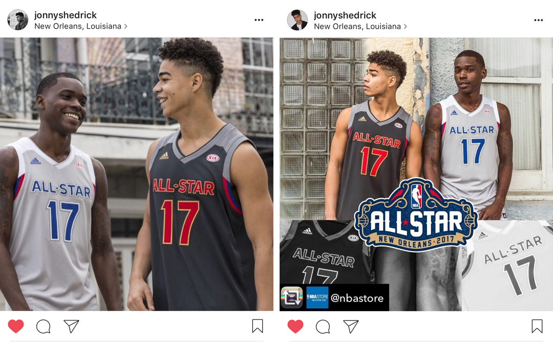 two NBA all-star photos from instagram