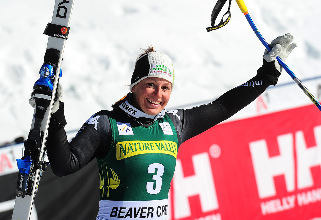 . Italy\'s Elena Fanchini celebrates after placing third in the women\'s downhill at the FIS Ski World Cup in Beaver Creek, Colorado, November, 29, 2013. AFP PHOTO/Emmanuel DUNAND/AFP/Getty Images