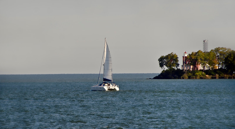 Sailing around the Point of South Bass Island