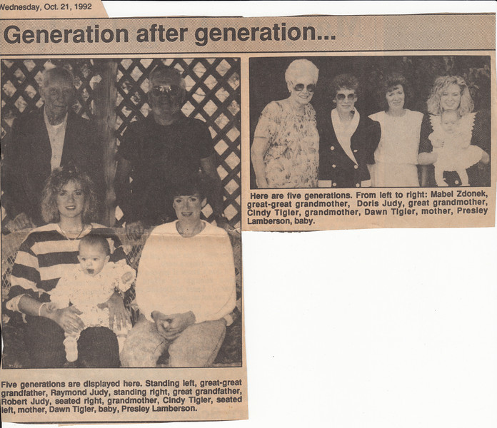 Newspaper Clipping - 5 Generations of Judys - October 21, 1992.jpg