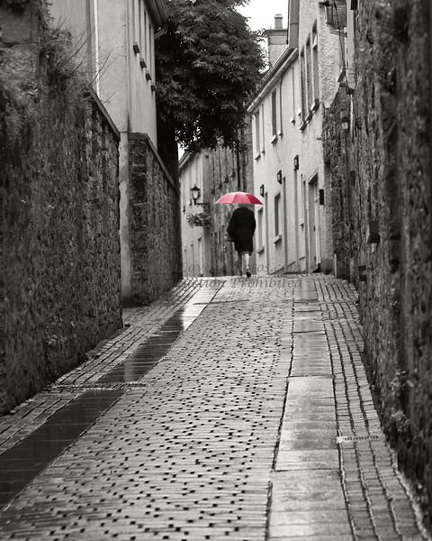 Irish Red Umbrella, Kilkenny, Ireland<br /> colored B&W photo<br /> in New Hope Art League 2011 Juried Show