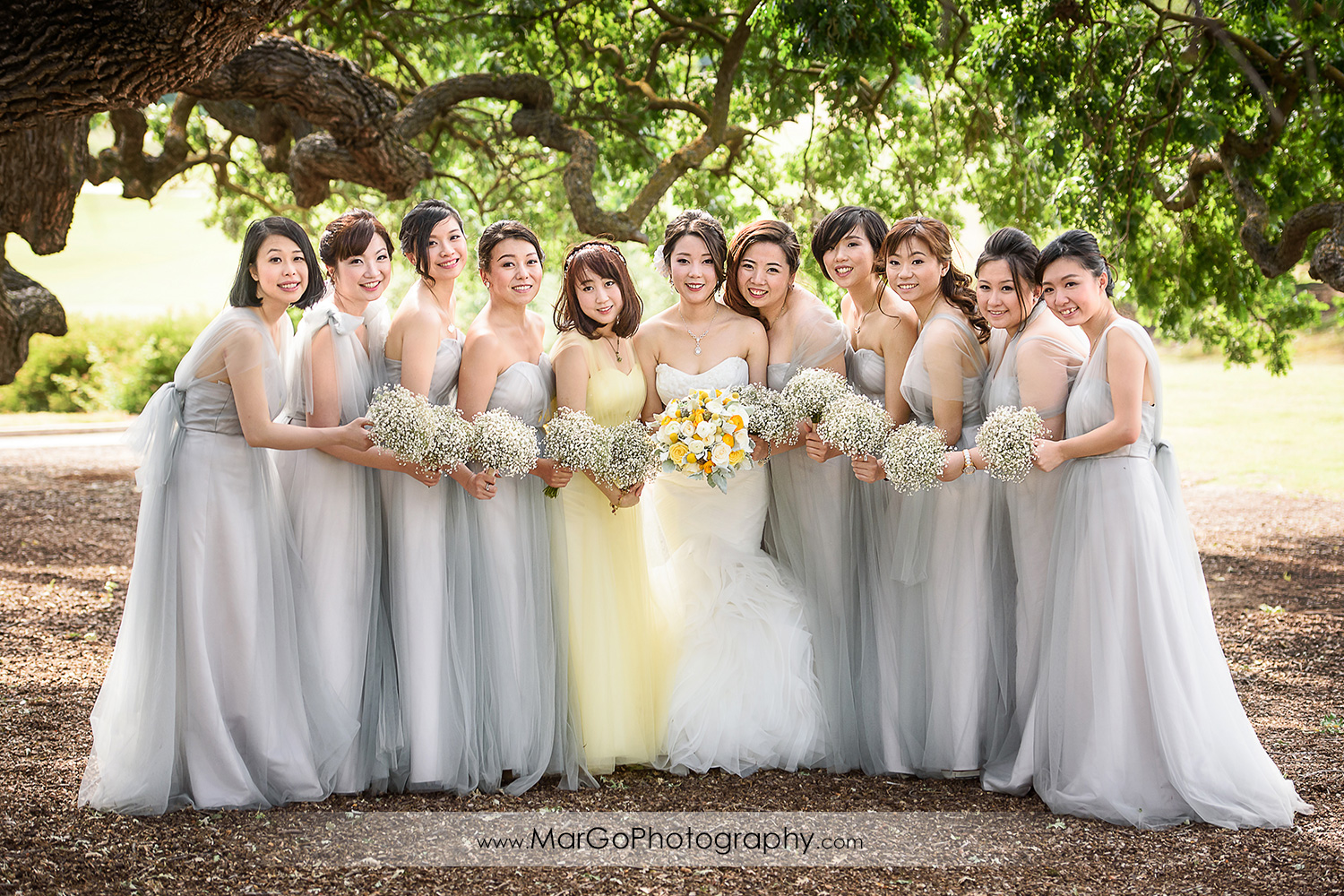 bride and bridesmaids at the Club at Ruby Hill in Pleasanton