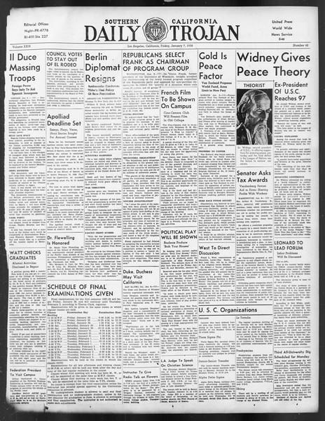 Daily Trojan, Vol. 29, No. 62, January 07, 1938