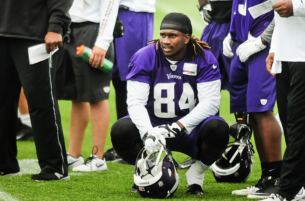 . Minnesota Vikings wide receiver Cordarrelle Patterson watches practice at Vikings training camp in Mankato, Minn., on Friday, July 26, 2013. (Pioneer Press: Ben Garvin)