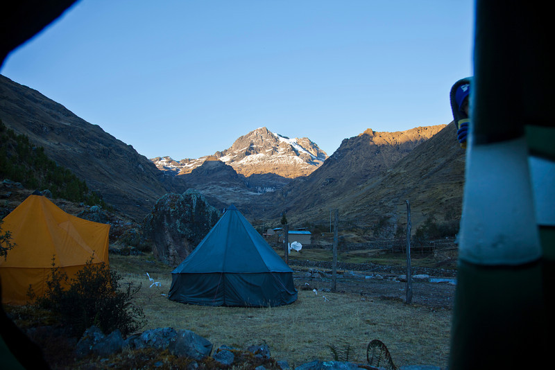 The view from our tent after the first night