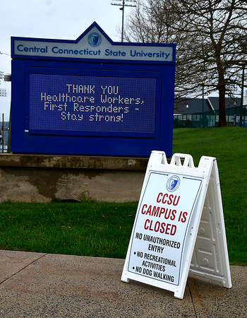 4/18/2020 Mike Orazzi | Staff A CCSU is closed sign on the campus in New Britain on Saturday.