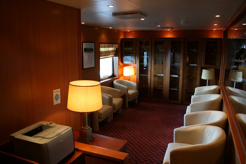 On board T/S FUNCHAL : Library, Promenade deck.