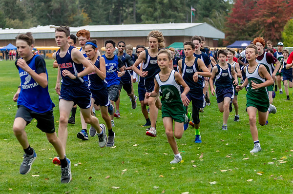 Middle School Boys Race, Cross Country Nisqually Meet 2 on Vashon Island 2018 10/02/2018
