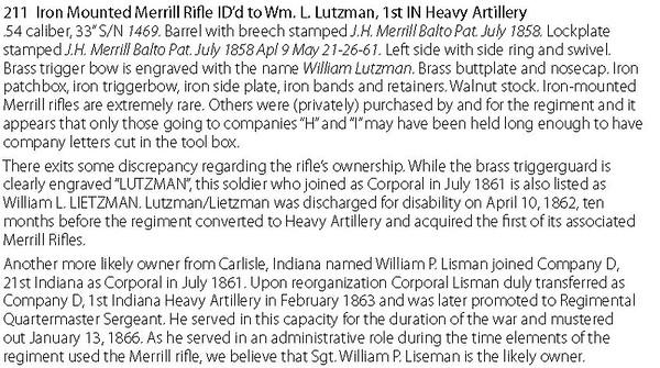 1469 (A.C. Daum iron mounted IDd to Wm Lutzman, 1st IN Heavy Artillery)
