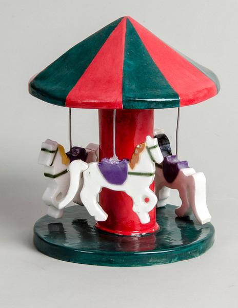 "7.Carousel/ handbuilt/ earthenware/ underglaze/glaze/metal wire :Carousel: height: 7.25"" width: 6 1/2"""