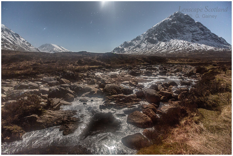Stob Dearg and frozen River Coupall by moonlight (1)