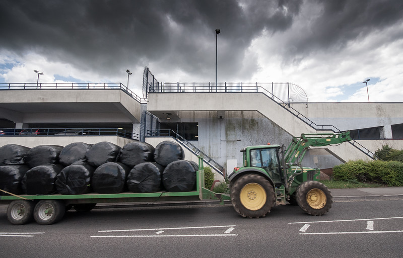 Tractor at the multistorey car park