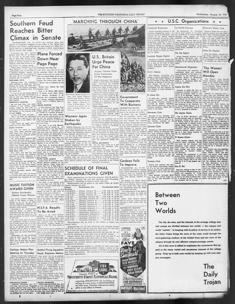 Daily Trojan, Vol. 29, No. 65, January 12, 1938