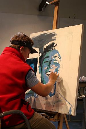 Studio Practices students painting self-portraits