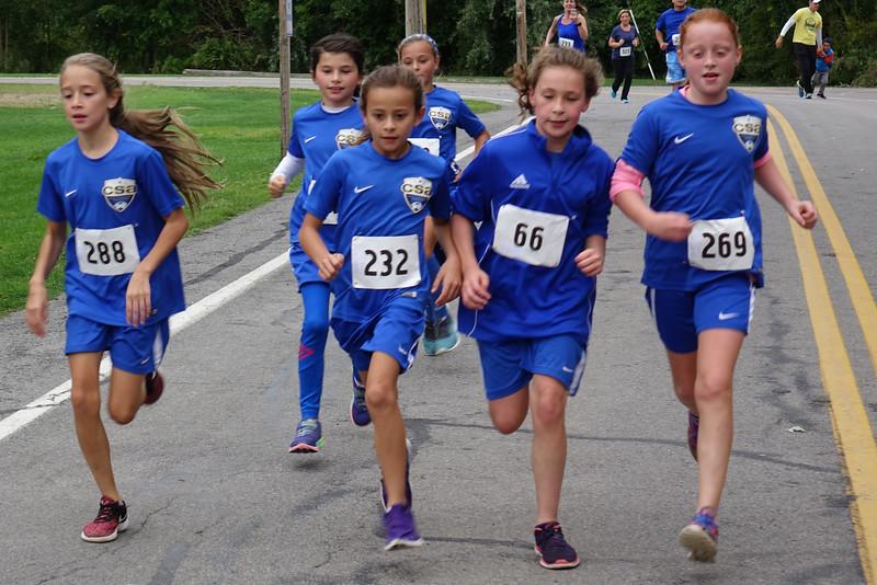 Girls' soccer team running the 5k