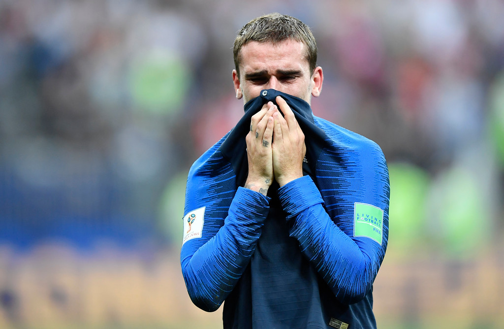 . France\'s Antoine Griezmann cries after winning 4-2 during the final match between France and Croatia at the 2018 soccer World Cup in the Luzhniki Stadium in Moscow, Russia, Sunday, July 15, 2018. (AP Photo/Martin Meissner)