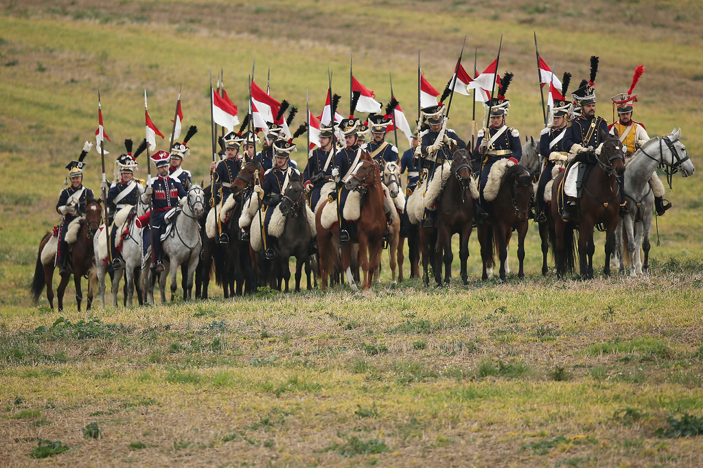 . Historical society enthusiasts in the role of Polish lancers fighting under Napoleon arrive to re-enact The Battle of Nations on its 200th anniversary on October 20, 2013 near Leipzig, Germany. (Photo by Sean Gallup/Getty Images)