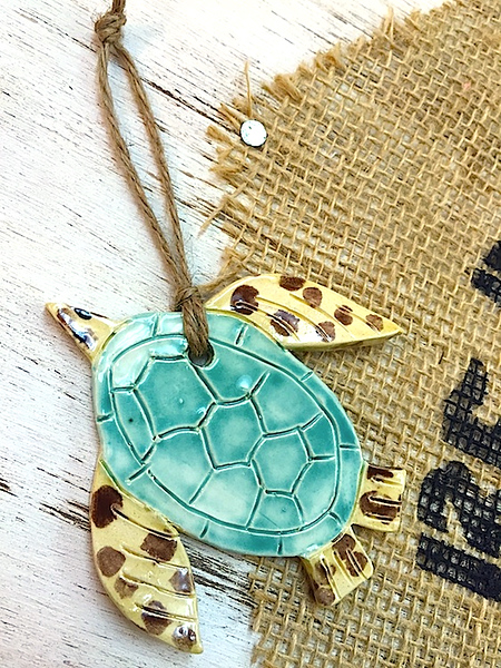 Seaturtle Ceramic Ornament - Deb C. Steiner