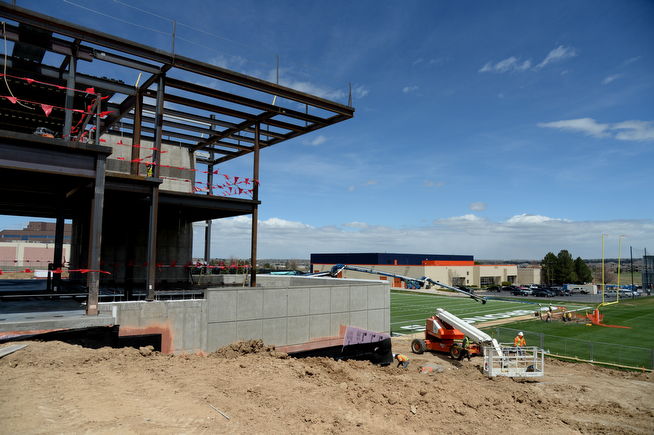 . The construction site of the new facility build-indoor practice field of the Denver Broncos, Centennial, Colorado, April 30, 2014. (Photo by Hyoung Chang/The Denver Post)