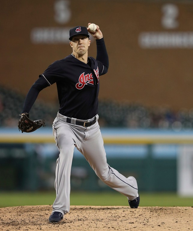 . Cleveland Indians relief pitcher Tyler Olson throws during the seventh inning of a baseball game against the Detroit Tigers, Tuesday, May 15, 2018, in Detroit. (AP Photo/Carlos Osorio)