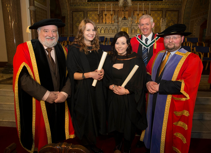 Pictured is Emma Shiel, Tramore and Olive Walsh, Waterford who graduated Bachelor of Arts (Hons) in in Early Childhood Studies. Also pictured is Jack Walsh, Deputy Chairperson Govering body,  Dr Richard Hayes, Dr. Derek O'Byrne, Registrar of Waterford Institute of Technology (WIT). Picture: Patrick Browne.
