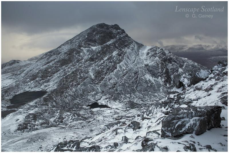 An Ruadh-stac from Bealach a'Choire Ghairbh (winter)