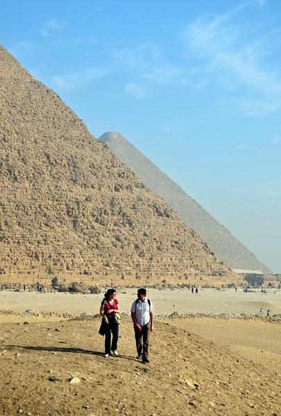 Tourists Outside Pyramids of Khufu and Khafre, Giza